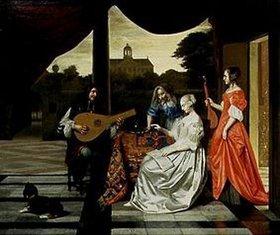 Pieter de Hooch: Musikalische Gesellschaft auf einer Terrasse in Amsterdam