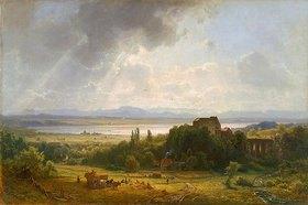 Eduard Schleich d.Ä.: Der Starnberger See mit Schloß Starnberg (um 1863)