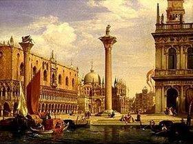 Albert Emil Kirchner: Ansicht der Piazzetta und Piazza di S.Marco in Venedig