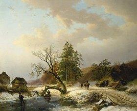 Barend Cornelisz Koekkoek: Winterlandschaft mit Reisigsammlern