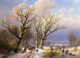 Johann-Bernard Klombeck: Winterliche Allee. 1863. Ausgeführt mit Eugene-J.Verboeckhoven