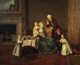 Johann Zoffany: Familie des 14.Lord Willoughby de Broke im Frühstücksraum, Bildnis