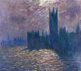 Claude Monet: Houses of Parliament, London, Reflektionen auf der Themse