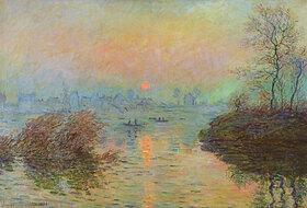 Claude Monet: Sonnenuntergang über der Seine bei Lavacourt im Winter