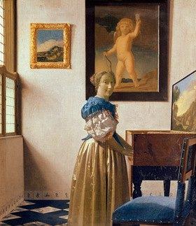 Jan Vermeer van Delft: Eine junge Frau an einem Virginal stehend