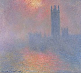 Claude Monet: The Houses of Parliament, London, Sonne bricht durch den Nebel