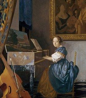 Jan Vermeer van Delft: Eine junge Dame an einem Virginal sitzend