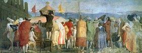 Giovanni Domenico Tiepolo: Il Mondo Nuovo, 1791, Menschenmenge vor einem Guckkasten