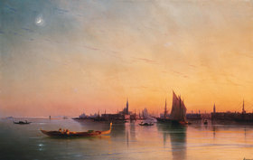 Iwan Konstantinovich Aiwassowskij: Venice from the Lagoon at Sunset