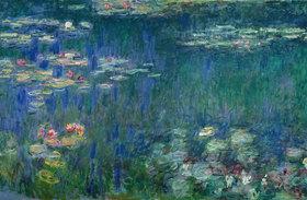 Claude Monet: Seerosen, Nympheas, grüne Reflektionen; (linker Teil)