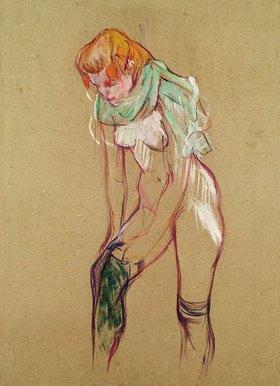 Henri de Toulouse-Lautrec: Frau Strümpfe hochziehend