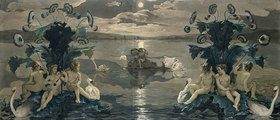 XKH144702 Arion\'s Sea Journey, 1809 (w/c on paper) by Runge, Philipp Otto (1777-1810); 50.6x118.4 cm; Hamburger Kunsthalle, Hamburg, Germany; (add.info.: Greek poet of the 7th century BC, famous for his skill on the lyre;); German,  out of copyright