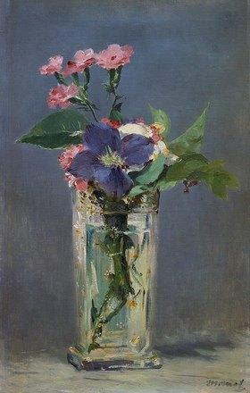 Edouard Manet: Glasvase mit Nelken und Klematis