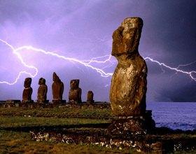 Moai Figuren an der Küste, Osterinsel, Chile