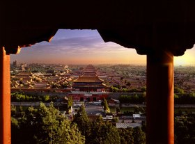 Blick auf die Verbotene Stadt, Peking, China