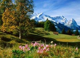 Blick auf die Zugspitzgruppe mit Alpspitze, Jubiläumsgrat, Zugspitze und Waxenstein