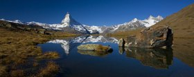 Look of the Stellisee (2537 m) on the Matterhorn (4478 m) with Zermatt(1620 m), canton Valais, Switzerland