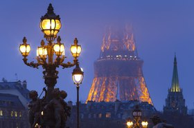 View from the Pont Alexandre III on the Eiffel Tower, Paris, Ile de France, France