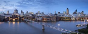 Look at the Millenium bridge and the Saint Paul's Cathedral in London, Great Britain