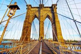 Brooklyn Bridge mit der Skyline von Manhattan, New York City, New York, USA