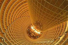 Look from above on the hotel lobby in the Jinmao Tower in Shanghai, China