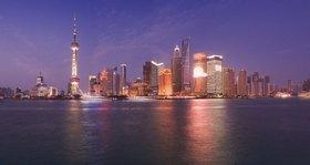 Huangpu Jiang, skyline of Shanghai, China