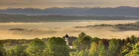 View from the Ilkahöhe, Starnberger See, Upper Bavaria, Bavaria, Germany