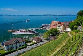 Hafen in Meersburg am Bodensee, Baden-Württemberg, Deutschland
