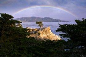 Regenbogen über der Monterey Zypresse an der Pazifikküste bei Carmel, Kalifornien, USA
