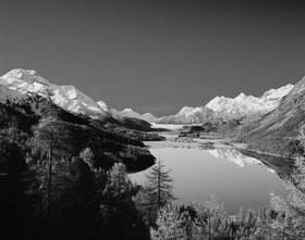 View on Silvaplanersee (lake of Silvaplaner) and Silsersee (lake of Sils), Engadin, Alpen, Graub¸nden, Schweiz