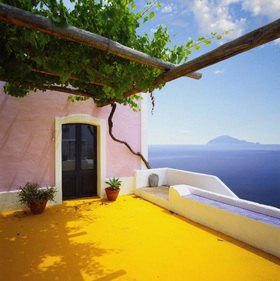 Alicudi island, typical architecture and Filicudi Island, Aeolian Islands, Sicily, Italy