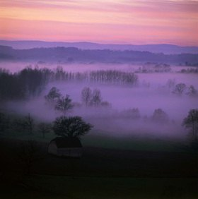 winter sunset, Limousin, Frankreich