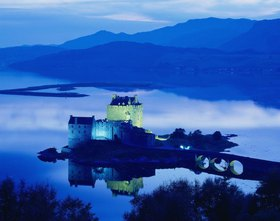 Eilean Donan Castle, near Dornie village, and Loch Duich bay