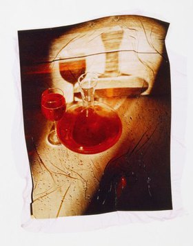 Red wine, decanter and glass