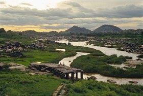 View towards Tungabhadra river, Karnataka, Indien