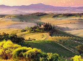 Typical landscape near San Quirico d'Orcia town, Orcia Tal, Toskana, Italien