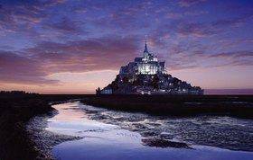 Sunset, Mont Saint Michel, Normandie, Frankreich