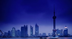 Oriental Pearl Tower and skyscrapers along Huangpu River, Pudong, Shanghai, China
