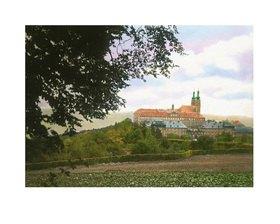 Bayern um 1900 in Farbe: Kloster Banz. Bayern, Deutschland. Handkoloriertes Glasdiapositiv