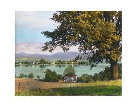 Bayern um 1900 in Farbe: Chiemsee mit Fraueninsel. Bayern. Deutschland. Handkoloriertes Glasdiapositiv