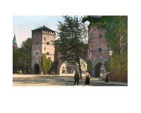 Bayern um 1900 in Farbe: München. Das Sendlinger Tor, Handkoloriertes Glasdiapositiv