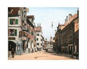 Bayern um 1900 in Farbe: Die Maximilianstraße in Lindau am Bodensee. Bayern. Handkoloriertes Glasdiapositiv