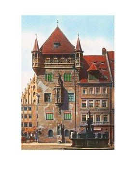 Bayern um 1900 in Farbe: Nürnberg. Das Nassauerhaus. Deutschland. Handkoloriertes Glasdiapositiv
