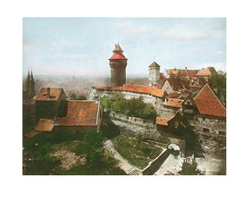 Bayern um 1900 in Farbe: Nürnberg. Die Reichsburg. Deutschland. Handkoloriertes Glasdiapositiv
