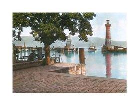 Bayern um 1900 in Farbe: Lindau am Bodensee. Der neue Hafen mit dem Leuchtturm und dem Löwen-Denkmal. Handkoloriertes Glasdiapositiv
