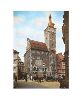 Bayern um 1900 in Farbe: Würzburg. Das alte Rathaus mit dem sogenannten Grafen Eckards-Turm. Handkoloriertes Glasdiapositiv
