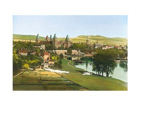 Bayern um 1900 in Farbe: Aschaffenburg. Panorama mit Schloss Johannisburg. Handkoloriertes Glasdiapositiv