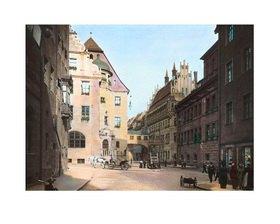 Bayern um 1900 in Farbe: Nürnberg. Altes und Neues Rathaus. Deutschland. Handkoloriertes Glasdiapositiv