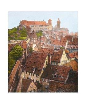 Bayern um 1900 in Farbe: Blick auf Nürnberg und die Reichsburg. Handkoloriertes Glasdiapositiv