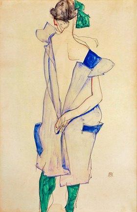 Egon Schiele: Stehendes Mädchen mit blauem Kleid und grünen Strümpfen, Rückenansicht